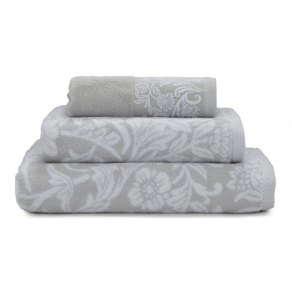 Dorma Winchester Jacquard Border Towel Grey undefined