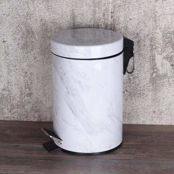 Marble Effect 3L Pedestal Bin White