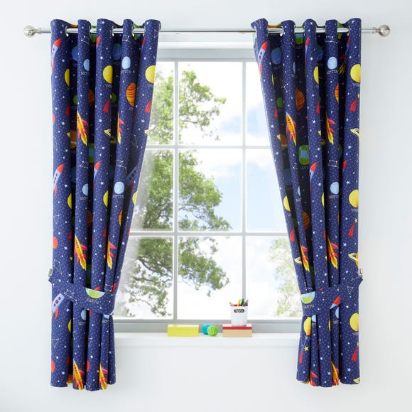Space Navy Blackout Eyelet Kids Curtains  undefined