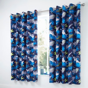 Sharks Navy Blackout Eyelet Kids Curtains