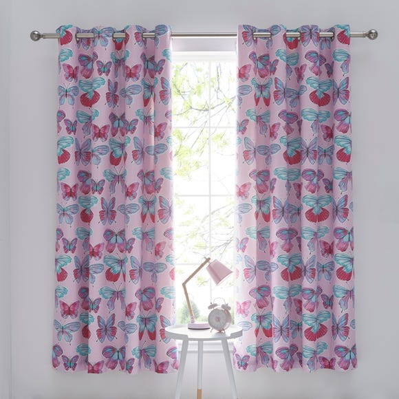Butterflies Blackout Eyelet Kids Curtains MultiColoured undefined