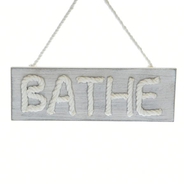 Wooden Bathe Plaque Grey