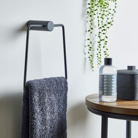 Elements Matt Black Towel Ring