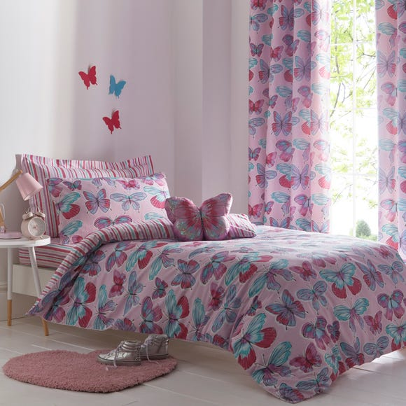 Butterflies Purple Reversible Duvet Cover and Pillowcase Set Pink undefined