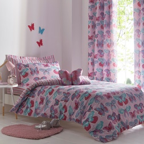 Butterflies Purple Reversible Duvet Cover and Pillowcase Set