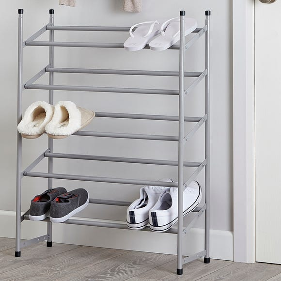 5 Tier Extendable Shoe Rack Silver