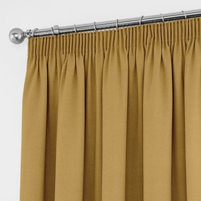 Tyla Ochre Thermal Blackout Pencil Pleat Curtains