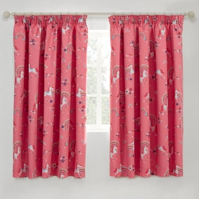 Unicorn Blackout Pencil Pleat Kids Curtains