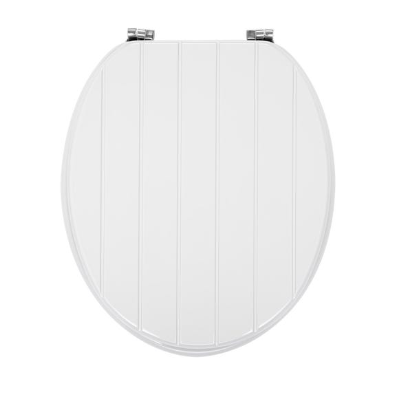 Tongue and Groove White Toilet Seat White