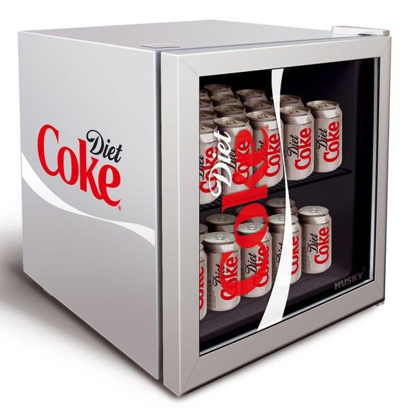 Husky 43L Diet Coke Mini Fridge Silver