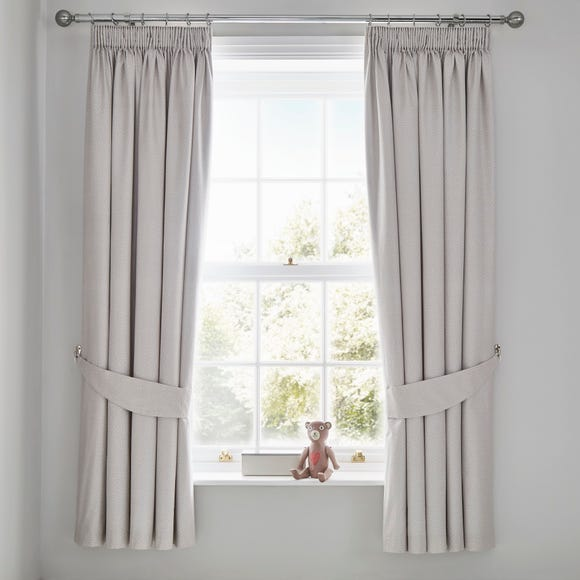 Bear Hugs Blackout Pencil Pleat Curtains Natural undefined