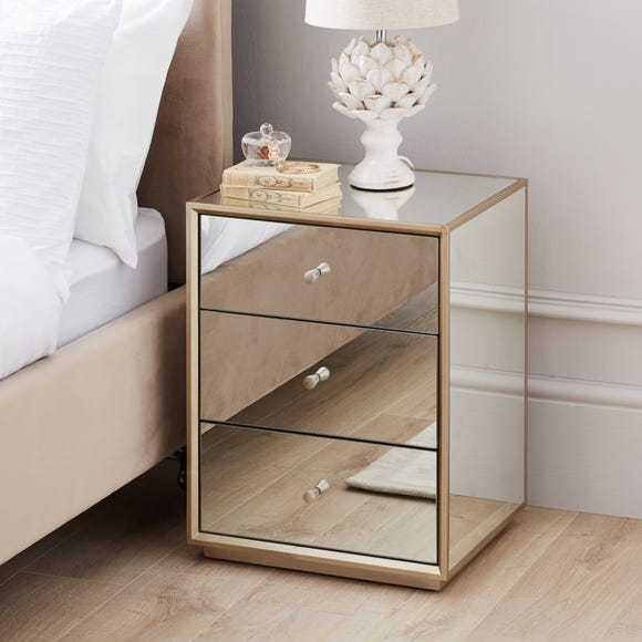 Harriet Mirrored Bedside Table Silver