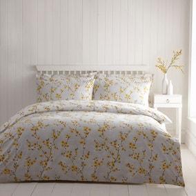 Alisha Floral Yellow Reversible Duvet Cover and Pillowcase Set
