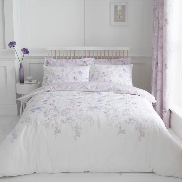 Iris Mauve 100% Cotton Reversible Duvet Cover and Pillowcase Set Mauve undefined