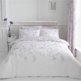 Iris Mauve 100% Cotton Reversible Duvet Cover and Pillowcase Set