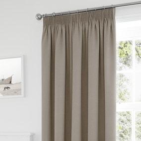 Tyla Natural Blackout Pencil Pleat Curtains