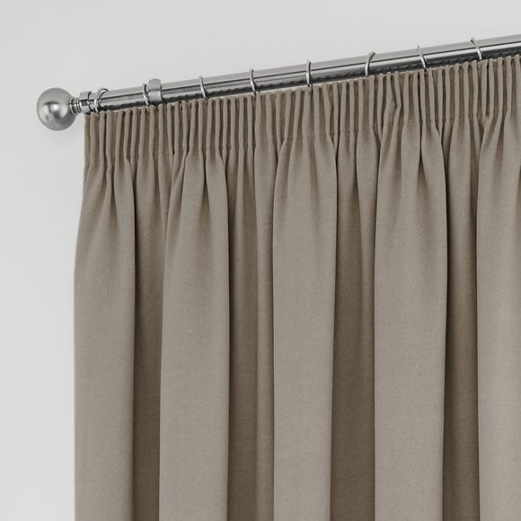 Tyla Natural Blackout Pencil Pleat Curtains Natural undefined