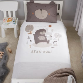 Bear Hugs 100% Cotton Cot Bed Duvet Cover and Pillowcase Set