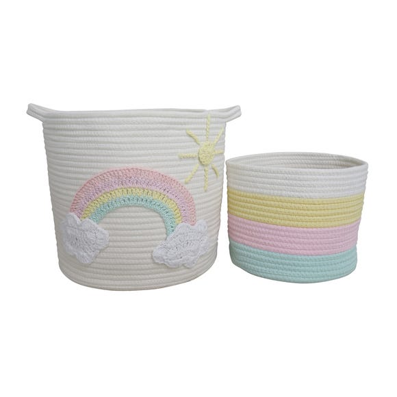 Unicorn Dreams Pack of 2 Storage Baskets MultiColoured