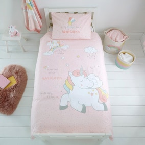 Unicorn Dreams 100% Cotton Cot Bed Duvet Cover and Pillowcase Set