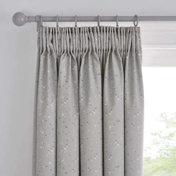 Grey Stars Blackout Pencil Pleat Curtains  undefined