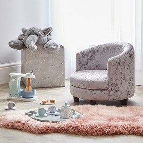 Kids Silver Crushed Velvet Chair