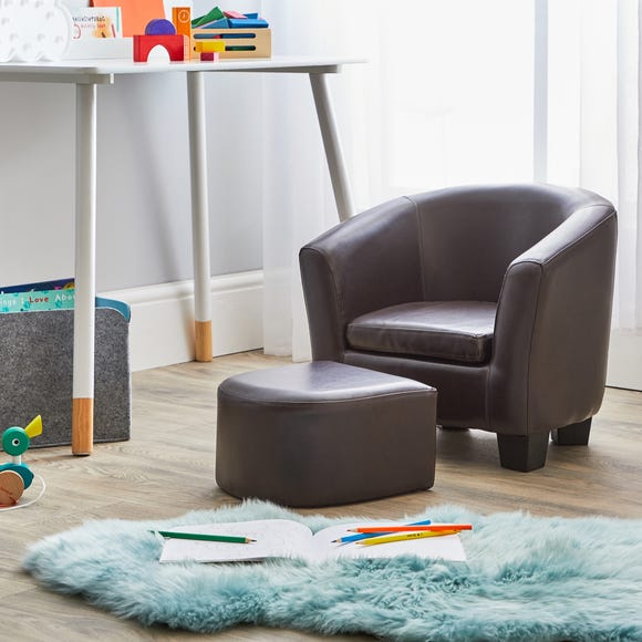 Kids Brown Tub Chair and Footstool Brown