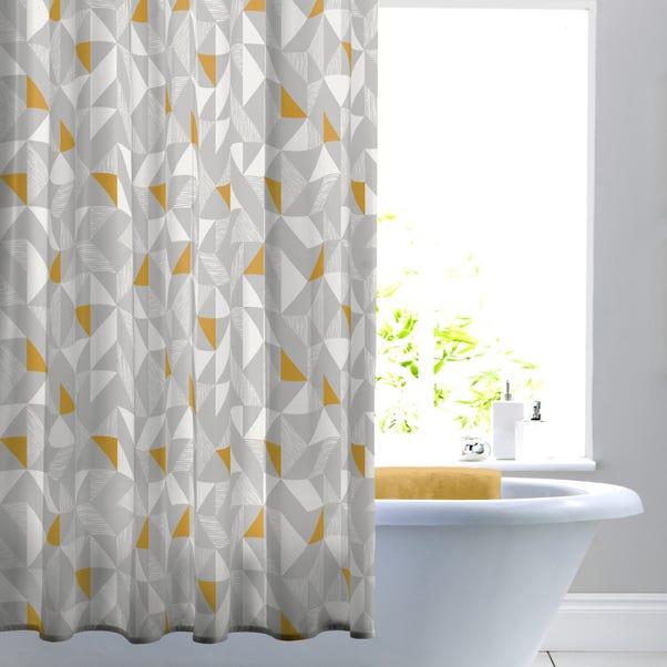 Elements Geo Ochre Shower Curtain Ochre