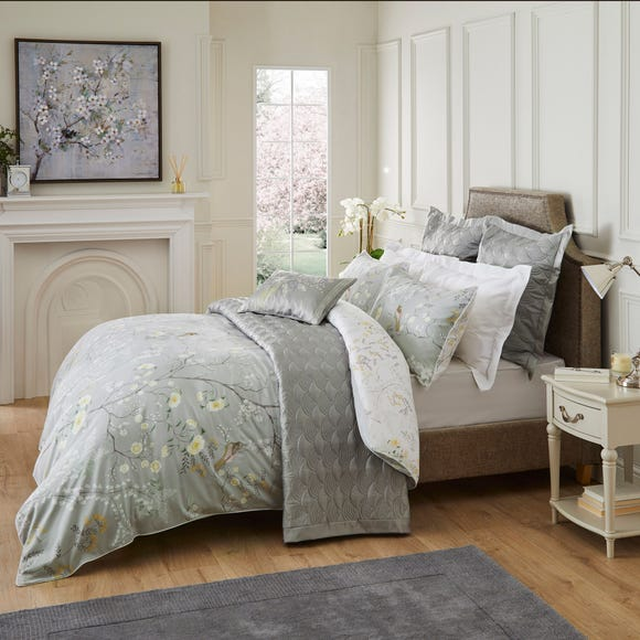 Dorma Maiya Embroidered 100% Cotton Grey Reversible Duvet Cover Grey undefined