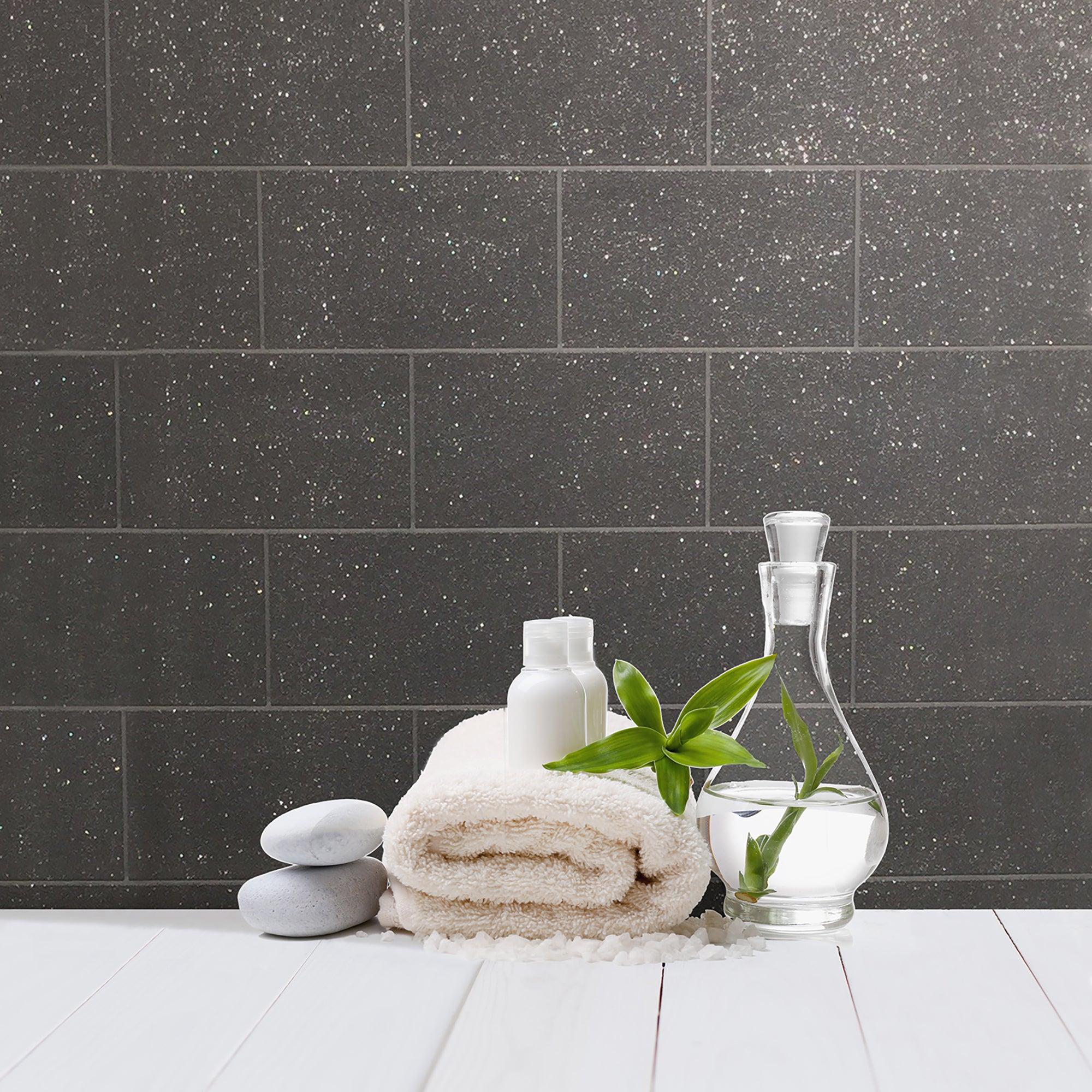 London Tile Black Wallpaper Black