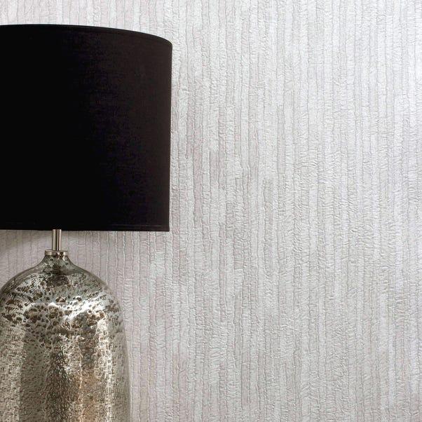 Bergamo Leather Texture Off White and Silver Wallpaper Silver
