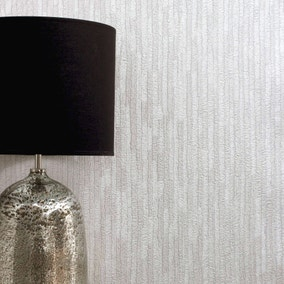 Bergamo Leather Texture Off White and Silver Wallpaper