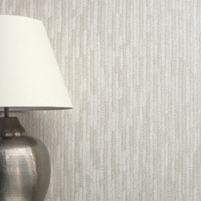 Bergamo Leather Texture Silver and Cream Wallpaper