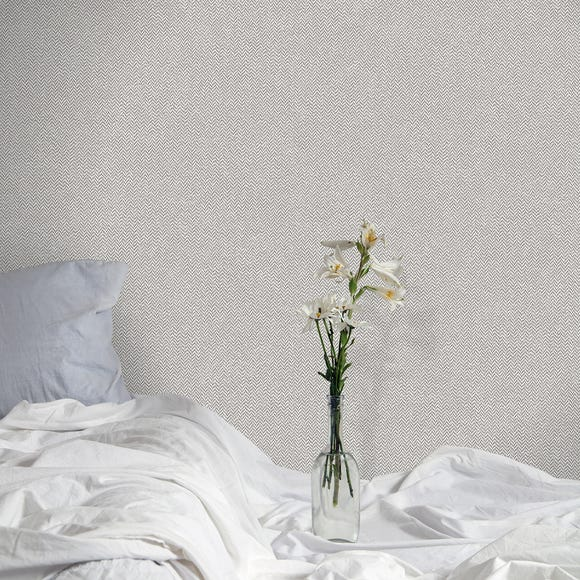 Cotton Tweed Soft Grey Wallpaper Grey