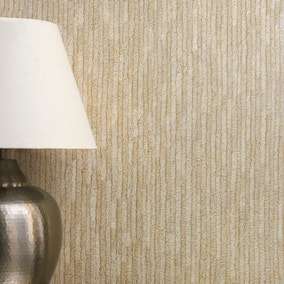 Bergamo Leather Texture Light Gold and Beige Wallpaper