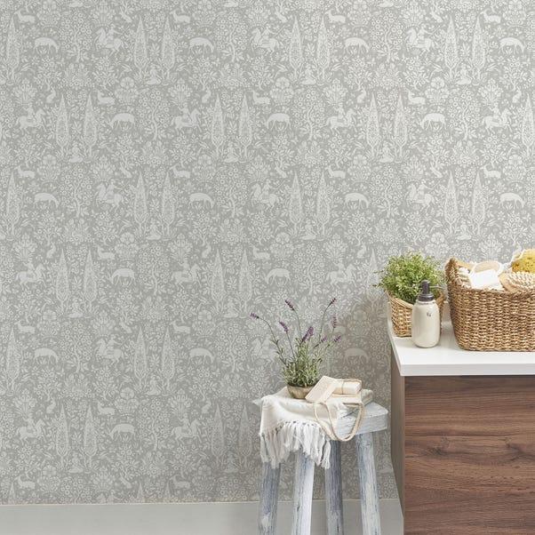Woodland Grey Wallpaper Grey