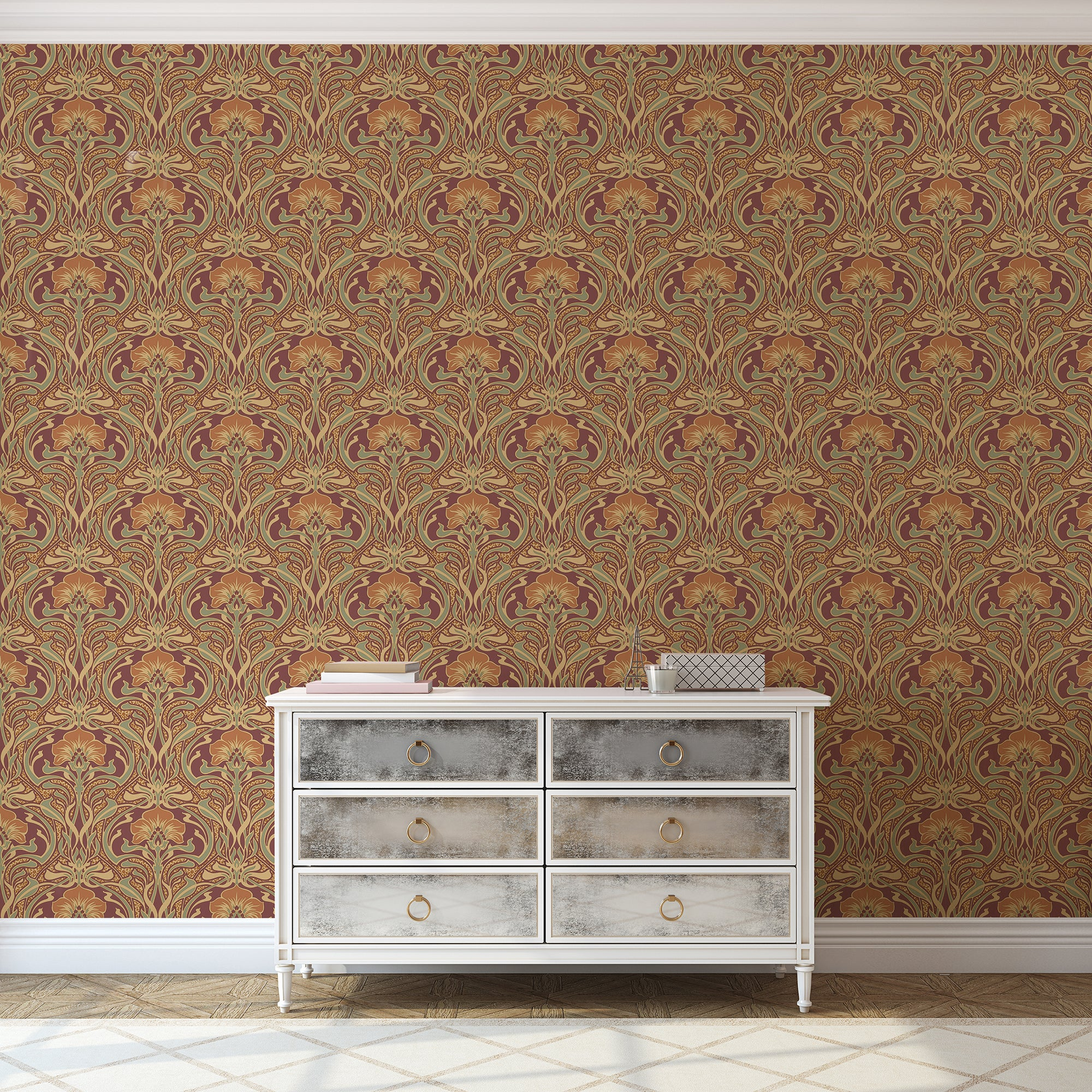 Click to view product details and reviews for Flora Nouveau Russet Wallpaper Gold.