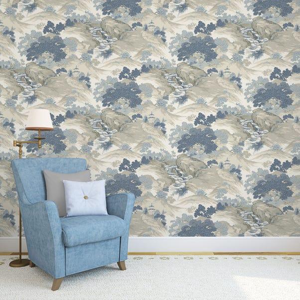 Oriental Landscape China Blue Wallpaper Blue