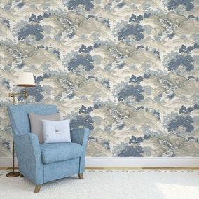 Oriental Landscape China Blue Wallpaper