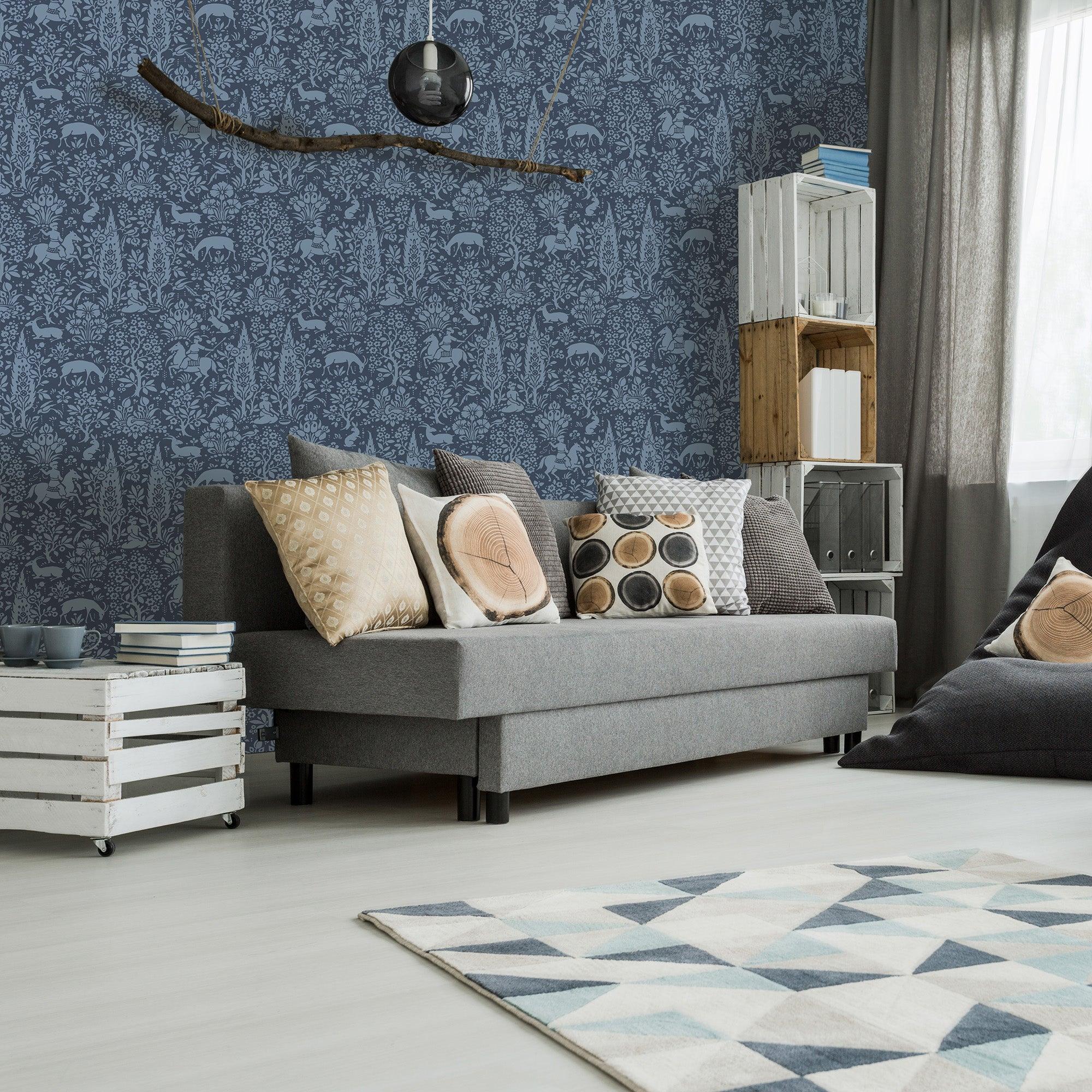 Woodland Dark Blue Wallpaper Blue