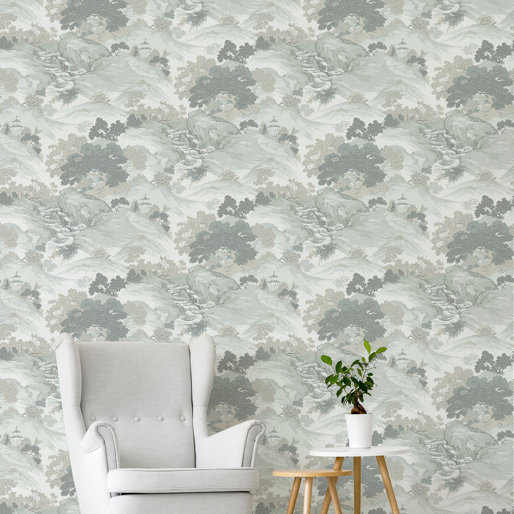 Click to view product details and reviews for Oriental Landscape Eau De Nil Wallpaper Green Grey And White.