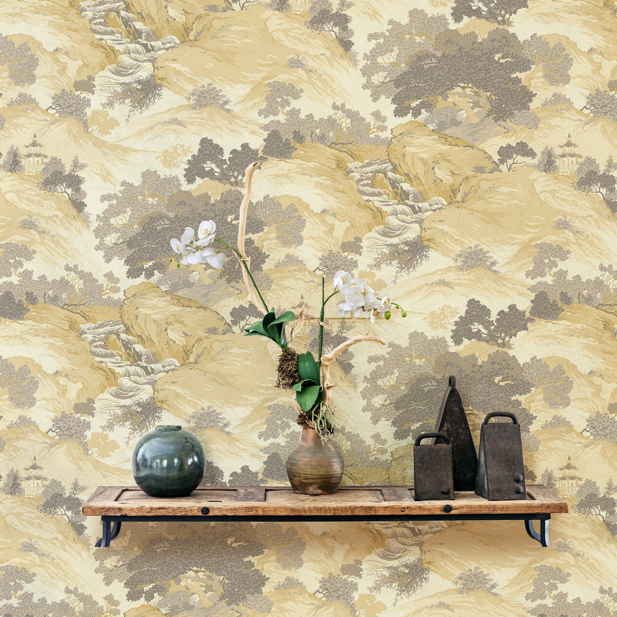 Click to view product details and reviews for Oriental Landscape Yellow Wallpaper Yellow.