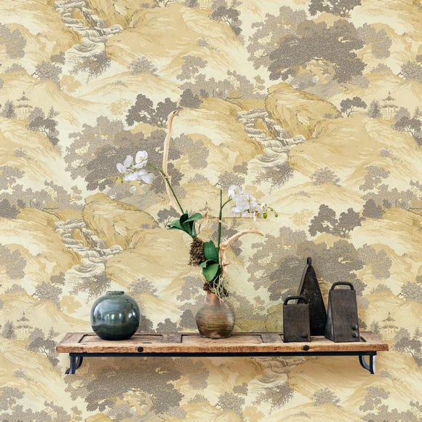 Oriental Landscape Yellow Wallpaper Yellow