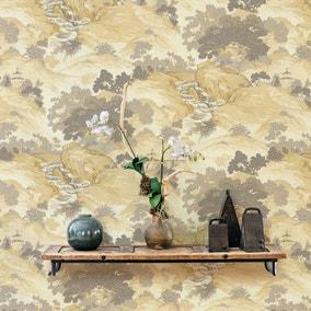 Oriental Landscape Yellow Wallpaper