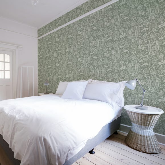 Woodland Sage Green Wallpaper Green
