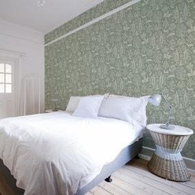Woodland Sage Green Wallpaper