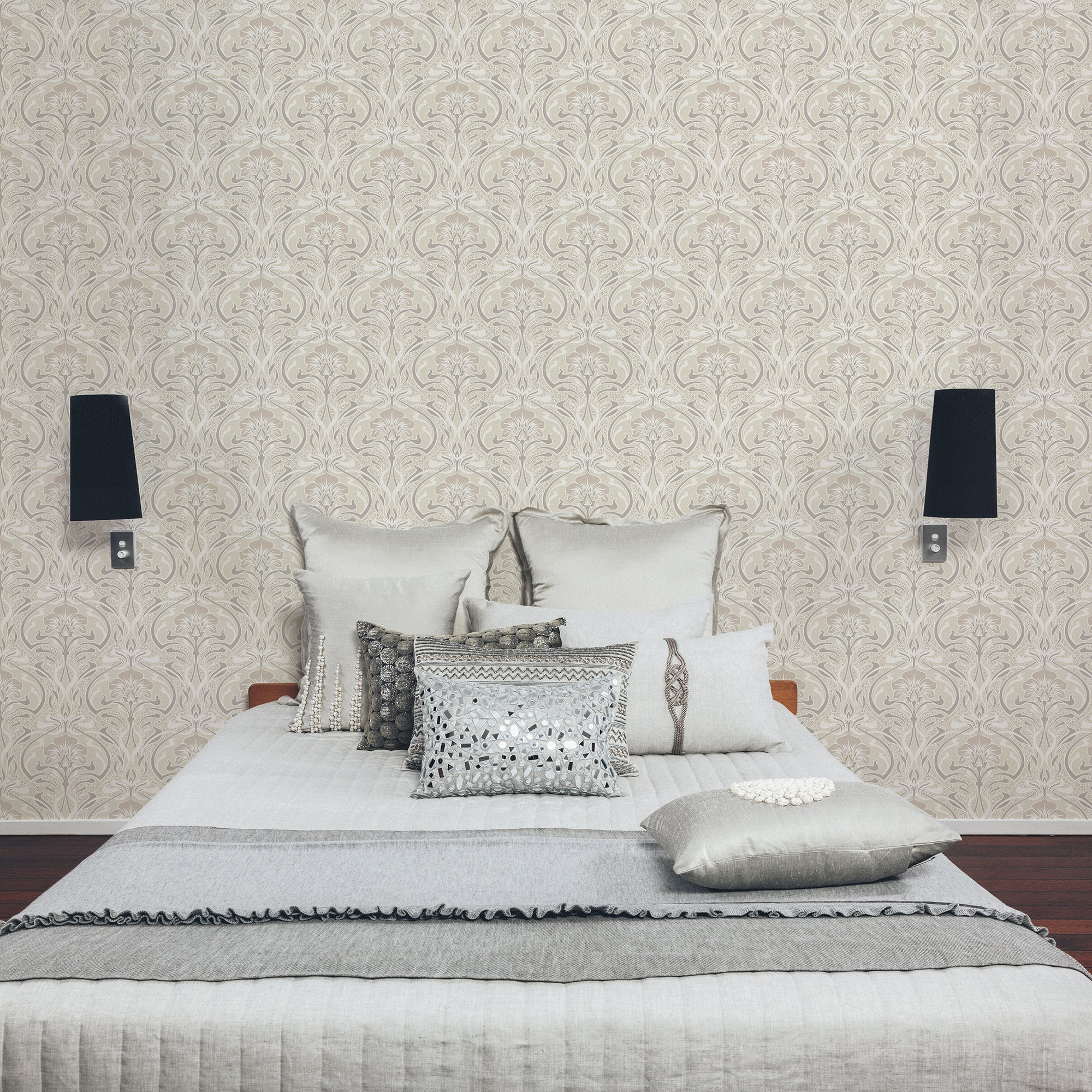 Click to view product details and reviews for Flora Nouveau Natural Wallpaper Brown Grey And White.