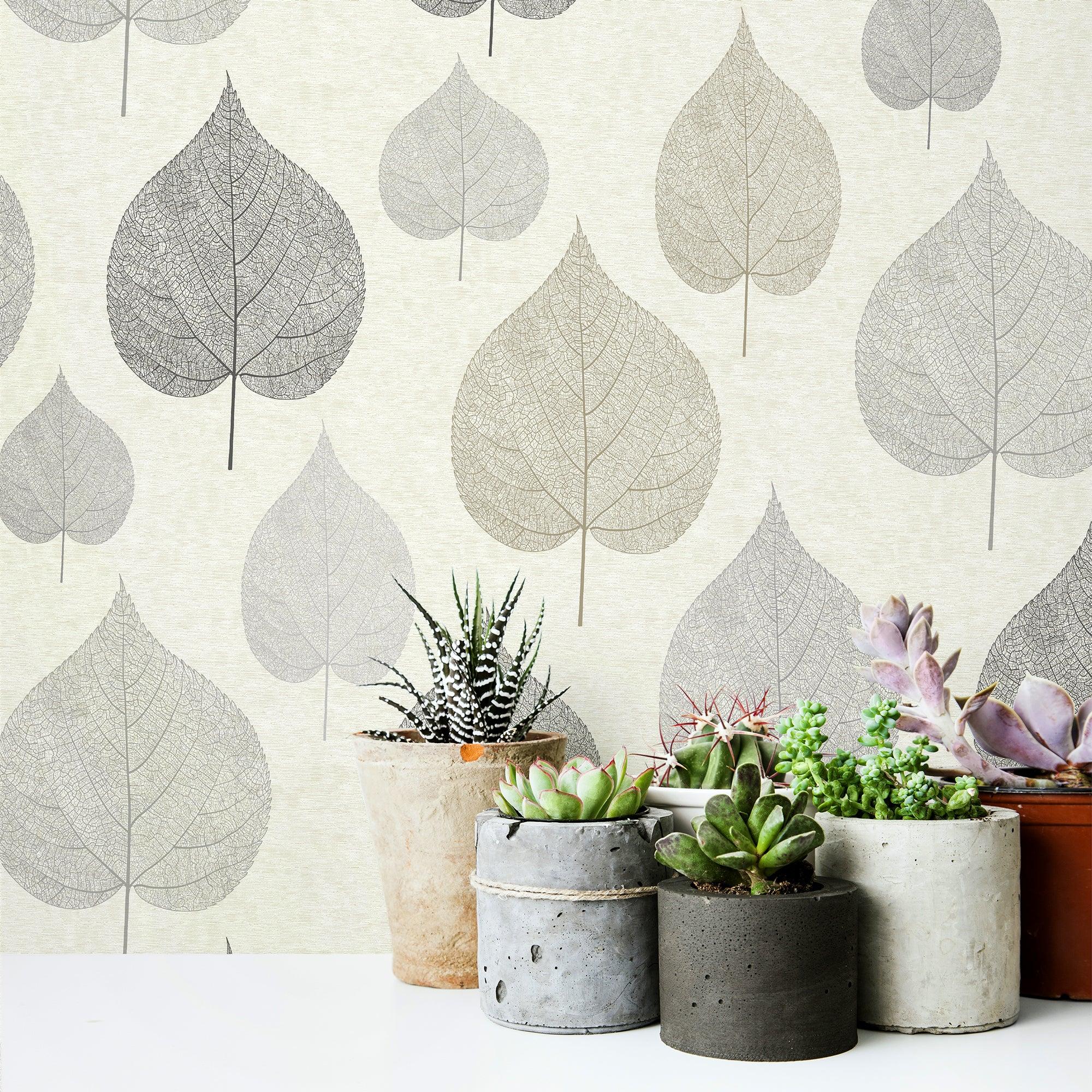 One Leaf Natural Wallpaper Natural