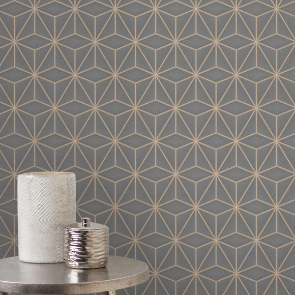 UK Pulse Star Geometric Charcoal Wallpaper Grey
