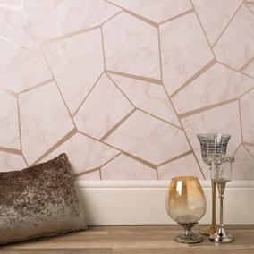 Marblesque Fractal Marble Rose Gold Wallpaper
